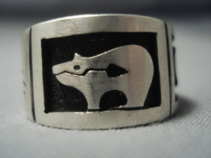 Marvelous Zuni Vintage Sterling Native American Jewelry Silver Myron Ring Old-Nativo Arts
