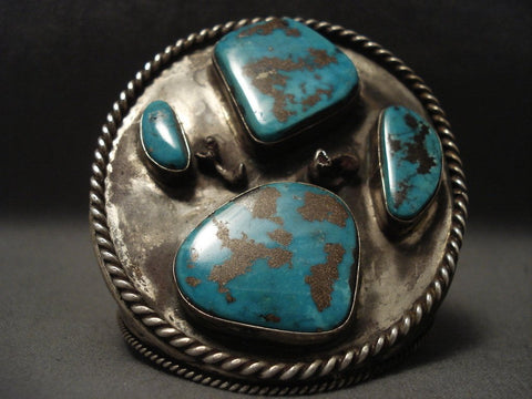 Massive Old Navajo Turquoise Native American Jewelry Silver Bracelet-Nativo Arts