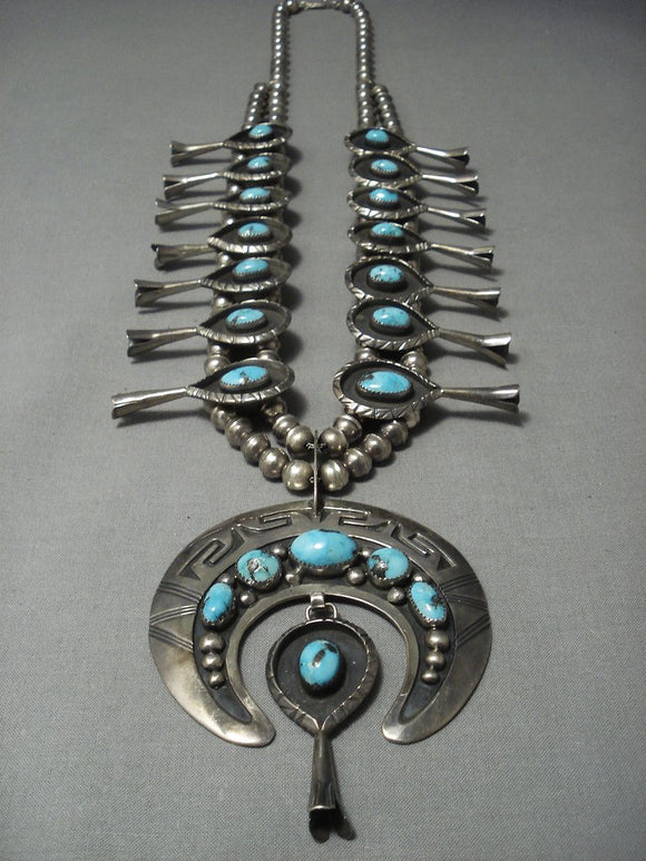 Massive! Vintage Navajo Bisbee Turquoise Sterling Native American Jewelry Silver Squash Blossom Necklace-Nativo Arts