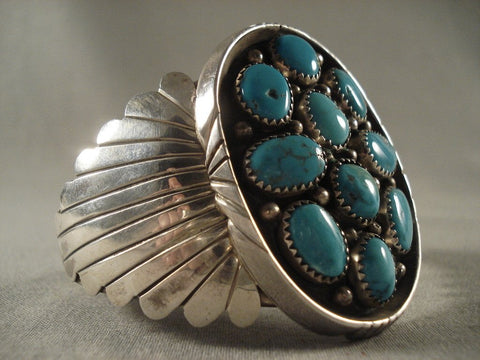Massive Vintage Navajo Native American Jewelry jewelry silver Shield Turquoise Bracelet For Warriors-Nativo Arts