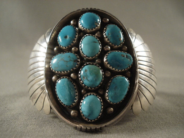 Massive Vintage Navajo Native American Jewelry jewelry silver Shield Turquoise Bracelet For Warriors