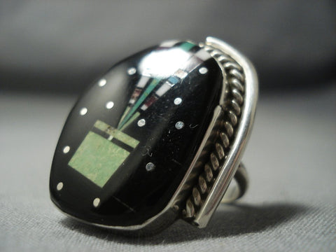 Midnight Space Kachina Gaspeite Turquoise Sterling Native American Jewelry Silver Ring-Nativo Arts