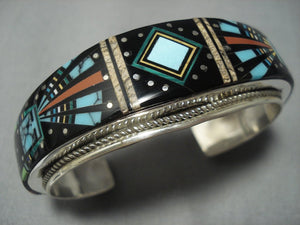 Midnight Space Kachina Turquoise Gaspeite Navajo Sterling Native American Jewelry Silver Bracelet-Nativo Arts
