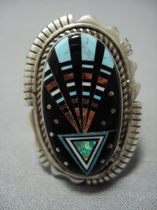 Midnight Space Kachina Turquoise Sterling Silver Navajo Native American Jewelry jewelry Ring-Nativo Arts