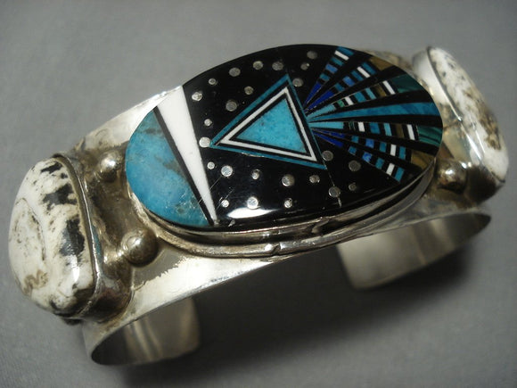 Midnight Space Kachina White Buffalo Turquoise Sterling Native American Jewelry Silver Navajo Bracelet-Nativo Arts