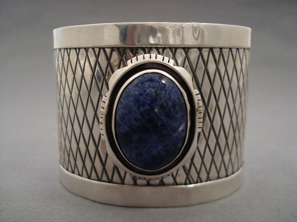 Mind Blowing 'Cross Pattern' Domed Lapis Native American Jewelry Silver Bracelet-Nativo Arts