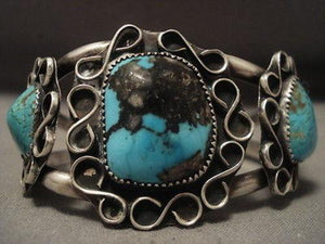 "MIND BLOWING VINTAGE NAVAJO BISBEE TURQUOISE """"INFINITY"""" SILVER BRACELET OLD VT-Nativo Arts"