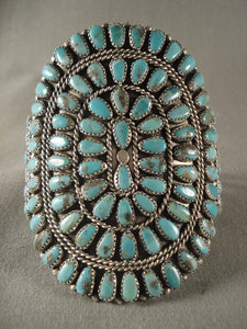 Mind Blowing Vintage Navajo Turquoise Drop Native American Jewelry Silver Bracelet Vtg Old-Nativo Arts