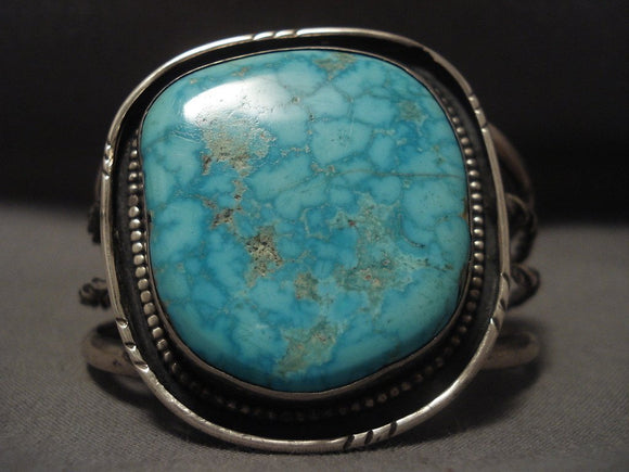Mind Boggling Vintage Navajo blue Cairco Lake Turquoise Native American Jewelry Silver Bracelet Old-Nativo Arts
