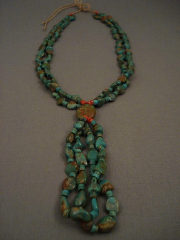 Mind Boggling Vintage Navajo Native American Jewelry jewelry Green Turquoise Necklace-Nativo Arts