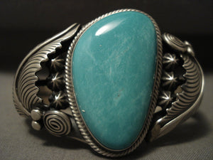 Mirrored Leaf Vintage Navajo Blue Turquoise Native American Jewelry Silver Leaf Bracelet-Nativo Arts