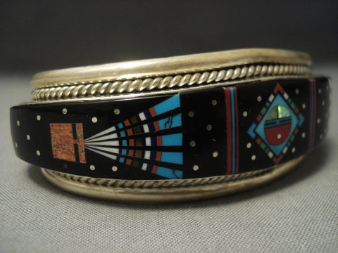 Modernistic Navajo Midnight Space Kachina Turquoise Sterling Native American Jewelry Silver Bracelet-Nativo Arts