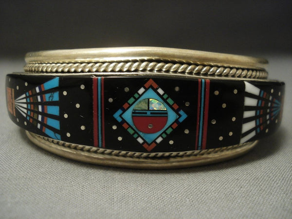 Modernistic Navajo Midnight Space Kachina Turquoise Sterling Native American Jewelry Silver Bracelet
