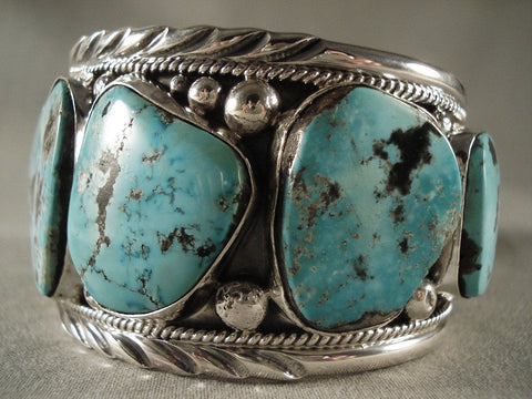 Monstrous Vintage Navajo Turquoise Native American Jewelry Silver Bracelet-Nativo Arts