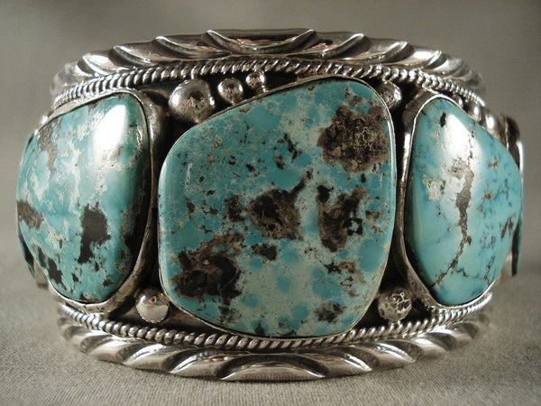 Monstrous Vintage Navajo Turquoise Native American Jewelry Silver Bracelet