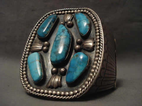 Monumental Vintage Navajo Blue Diamond Turquoise Native American Jewelry Silver Bracelet-Nativo Arts