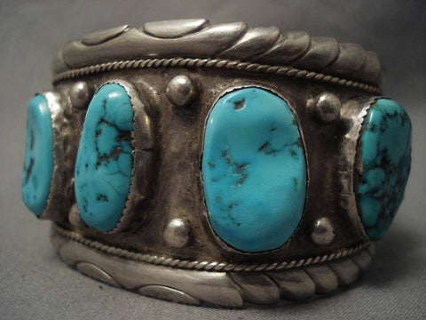 Monumental Vintage Navajo Turquoise Native American Jewelry Silver Bracelet-Nativo Arts