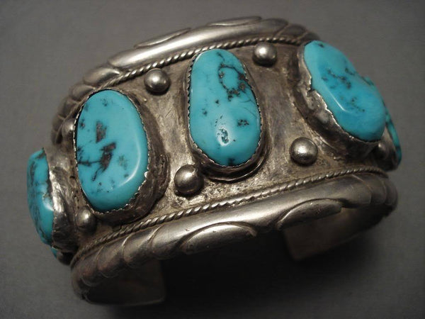 Monumental Vintage Navajo Turquoise Native American Jewelry Silver Bracelet