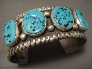 More Rare Vintage Navajo Kee Joe (d.) Turquoise Native American Jewelry Silver Bracelet Old-Nativo Arts