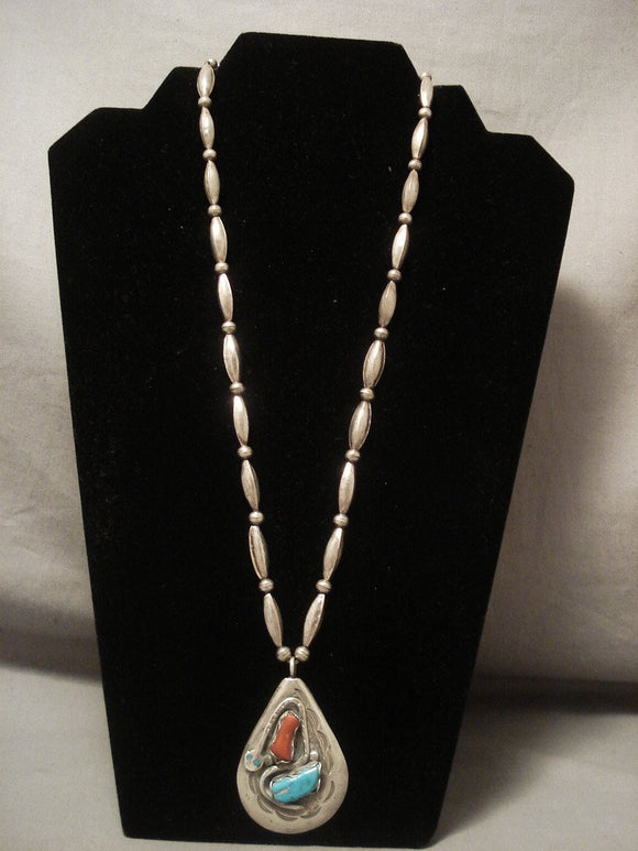 More Rare Vintage Zuni old Hallmark Effie Snake Native American Jewelry Silver Necklace Turquoise-Nativo Arts