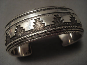 More Unique And Heavier Vintage Navajo Thomas Singer Native American Jewelry Silver Bracelet-Nativo Arts
