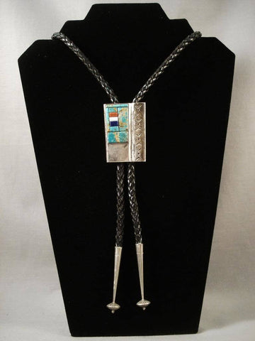 Mosaic Genius Vintage Navajo Green Turquoise Coral Native American Jewelry Silver Bolo Tie Old-Nativo Arts