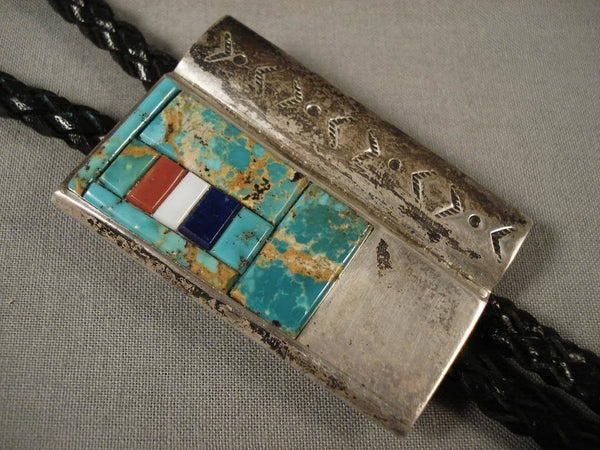Mosaic Genius Vintage Navajo Green Turquoise Coral Native American Jewelry Silver Bolo Tie Old