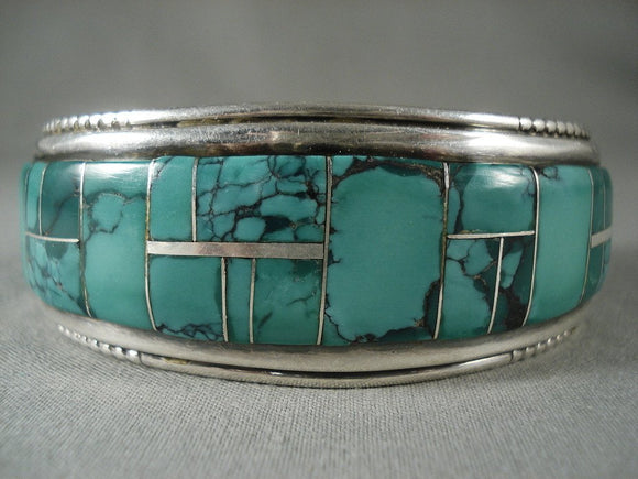Mosaic Genius Vintage Navajo Green Turquoise Native American Jewelry Silver Bracelet-Nativo Arts