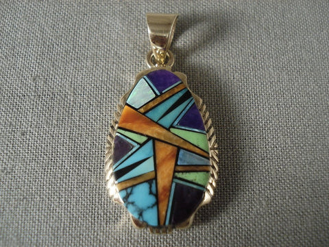 Mosaic Genius Vintage Navajo Native American Jewelry jewelry Solid 14k Gold Lone Mountain Turquoise Pendant-Nativo Arts