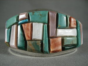 Mosaic Turquoise Wall Navajo Native American Jewelry Silver Bracelet-Nativo Arts