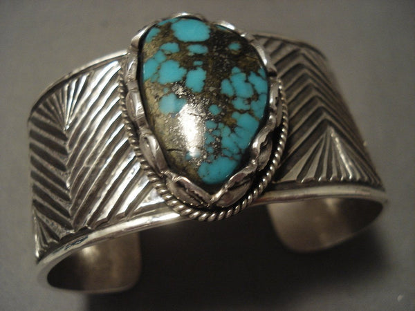 Museum 'Advanced Native American Jewelry Silver Work' Zig Zag Natural Turquoise Native American Jewelry Silver Bracelet