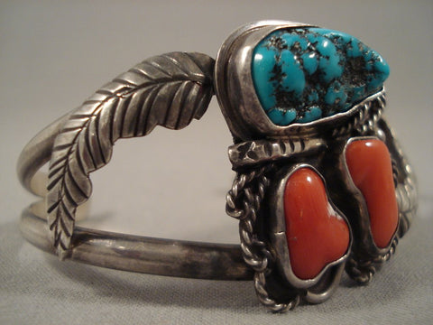 Museum 'Chunks Of Coral' Turquoise Native American Jewelry Silver Leaf Bracelet Old-Nativo Arts