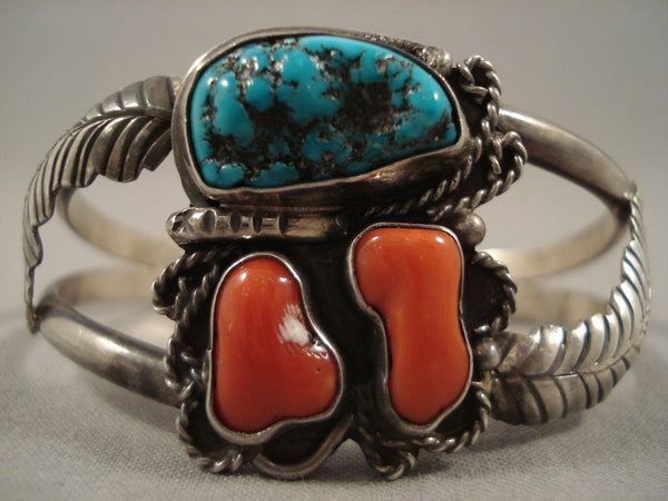 Museum 'Chunks Of Coral' Turquoise Native American Jewelry Silver Leaf Bracelet Old