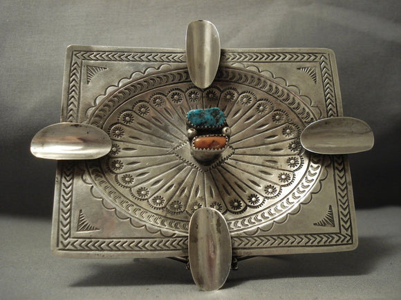 Museum Cigar Cigarette Sterling Native American Jewelry Silver Turquoise Vintage Ashtray-Nativo Arts