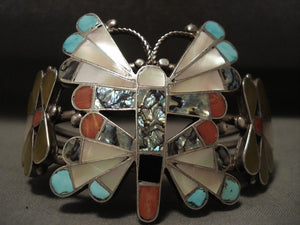 Museum Earlier Vintage Zuni Huge Zuni Butterfly Native American Jewelry Silver Bracelet-Nativo Arts