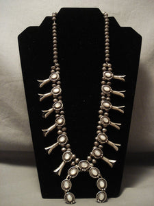 Museum Fabulous Vintage Navajo Pearl Native American Jewelry Silver Squash Blossom Necklace Old-Nativo Arts