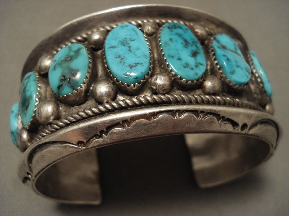 Museum Heavy 108 Grams Turquoise Family Vintage Navajo Native American Jewelry Silver Bracelet Old-Nativo Arts