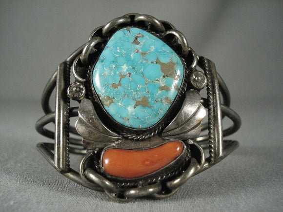 Museum Huge Vintage Navajo #8 Turquoise Native American Jewelry Silver Bracelet Old-Nativo Arts