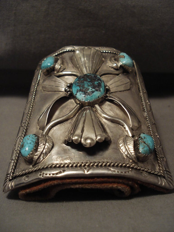Museum Huge Vintage Navajo Persin Turquoise Native American Jewelry Silver Bracelet Old-Nativo Arts