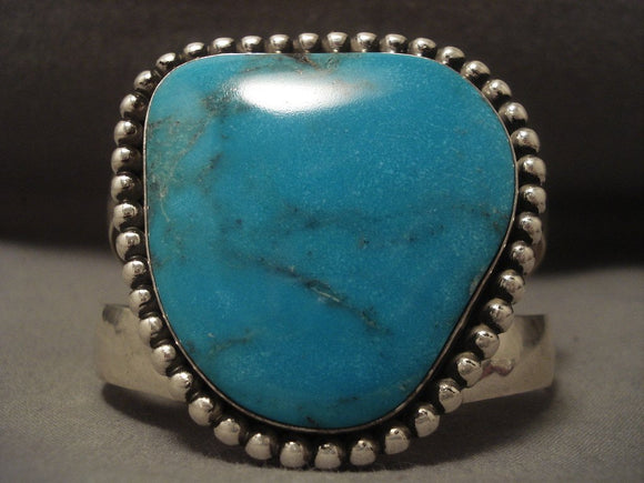 Museum Modernistic Navajo Blue Diamond Turquoise Native American Jewelry Silver Bracelet-Nativo Arts