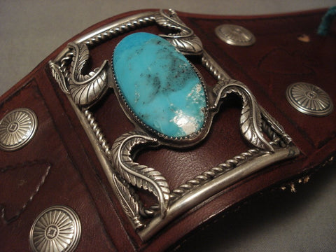 Museum Modernistic Navajo Blue Diamond Turquoise Native American Jewelry Silver Ketoh Bracelet-Nativo Arts