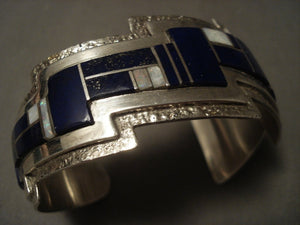 Museum Modernistic Navajo 'Lapis & Opal' Native American Jewelry Silver Lightning Bolt Bracelet-Nativo Arts