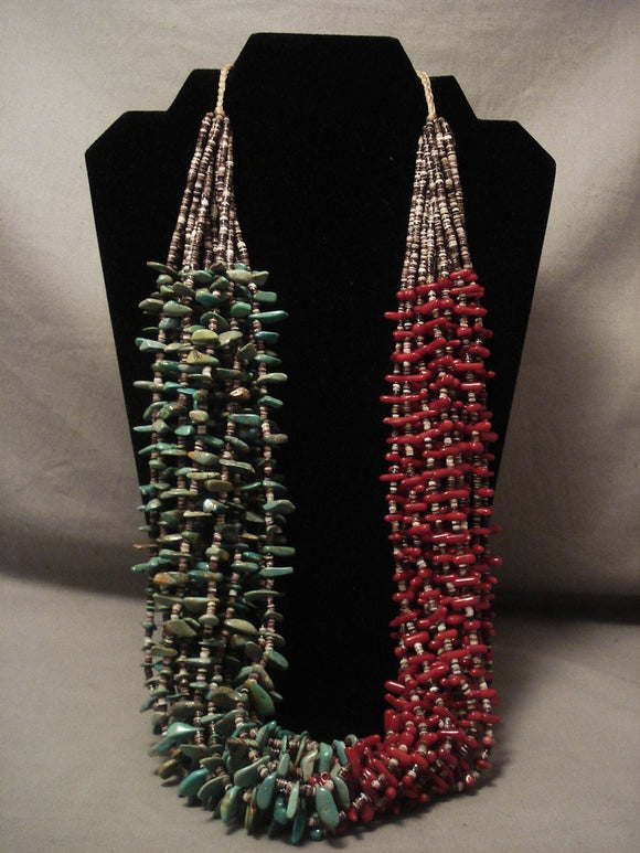 Museum Modernistic Navajo Native American Jewelry jewelry half And Half Turquoise Coral Necklace-Nativo Arts