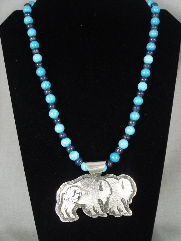 Museum Modernistic Navajo 'Real White Buffalo Turquoise' Native American Jewelry Silver Necklace-Nativo Arts