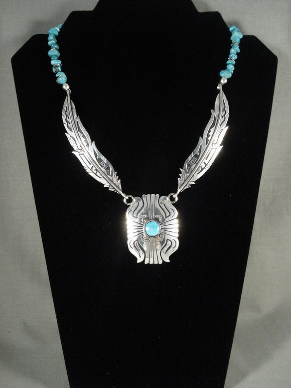 Museum Modernistic Navajo Singer Turquoise Native American Jewelry Silver Necklace-Nativo Arts