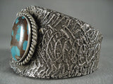 Museum Navajo Bisbee Turquoise 'Fantasy Dream' Native American Jewelry Silver Bracelet-Nativo Arts
