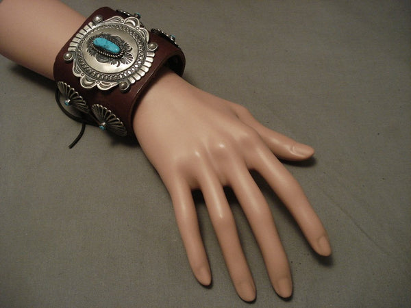 Museum Navajo Hand Wrought Native American Jewelry Silver Turquoise Ketoh Bracelet