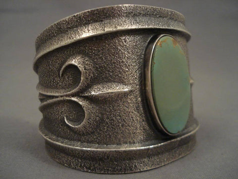 Museum Navajo Tufa Cast King's Manassa Turquoise Native American Jewelry Silver Bracelet-Nativo Arts