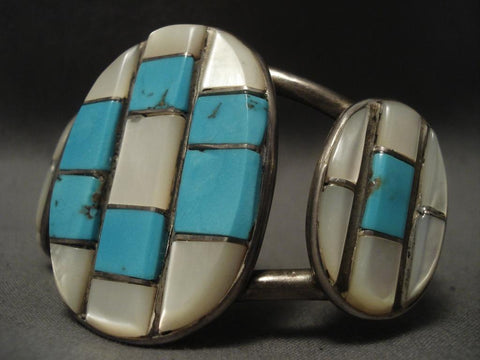 Museum Old Navajo Native American Jewelry jewelry checkerboard Turquoise Bracelet-Nativo Arts
