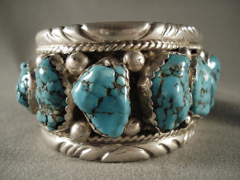 Museum Old Zuni Turquoise Native American Jewelry Silver Bracelet-106 Grams-Nativo Arts